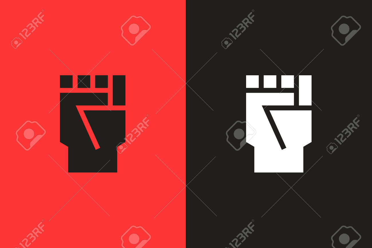 Closed fist flat glyph icon. Vector illustration symbolizing protests, riots, activism, black lives matter and fighting for equality - 158456498