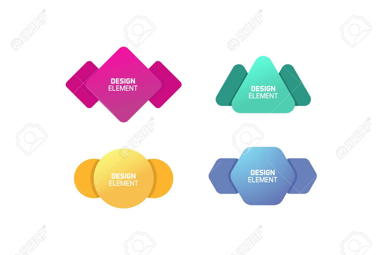 Geometric graphic design elements. Vector shapes with abstract geometric lines for text. Template for usage in presentations, web design, websites, magazines, labels, marketing and business - 158456504