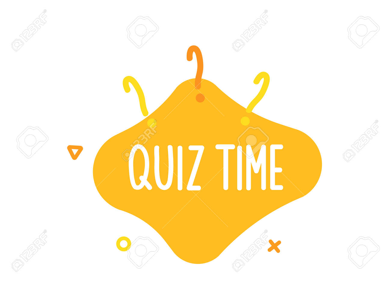 Quiz time text on liquid shape with question marks and geometric outline figures. Vector graphic design template for quiz question games, questionnaires, education, pub and bar events, online games, social media, business and marketing events - 158456541