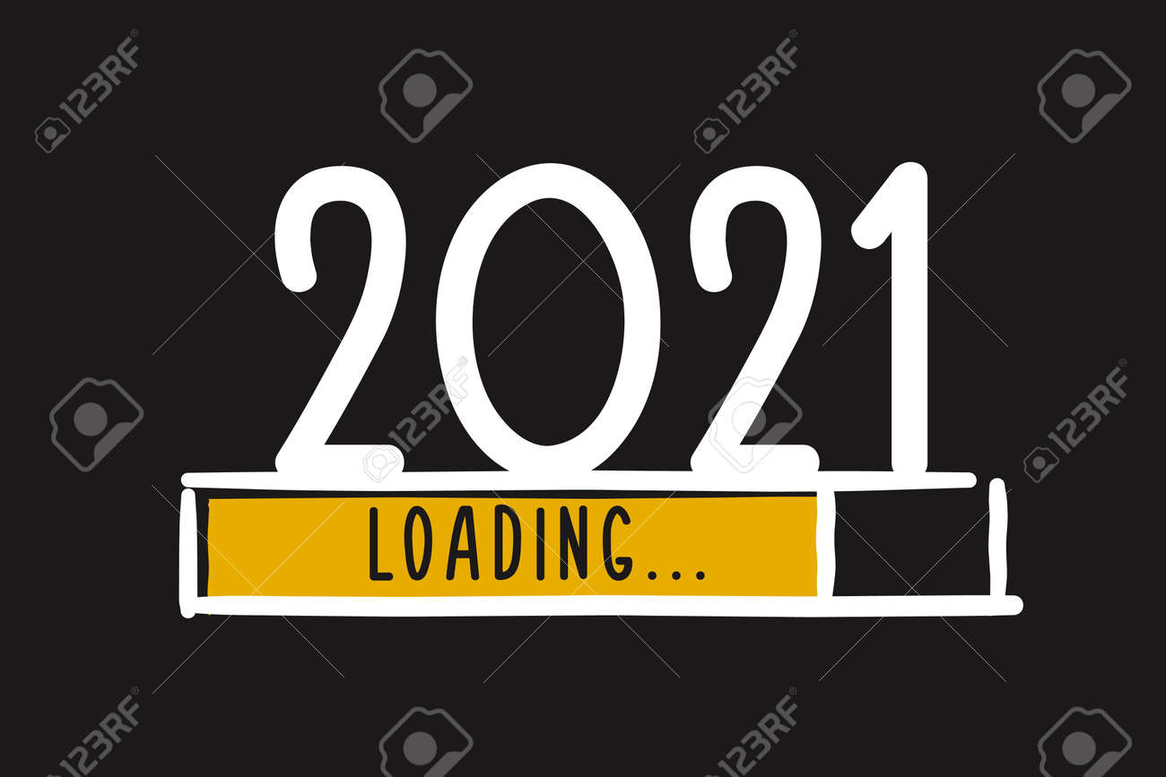 Doodle new year download screen. Progress bar almost reaching new year's eve. Vector illustration with 2021 loading - 158456606
