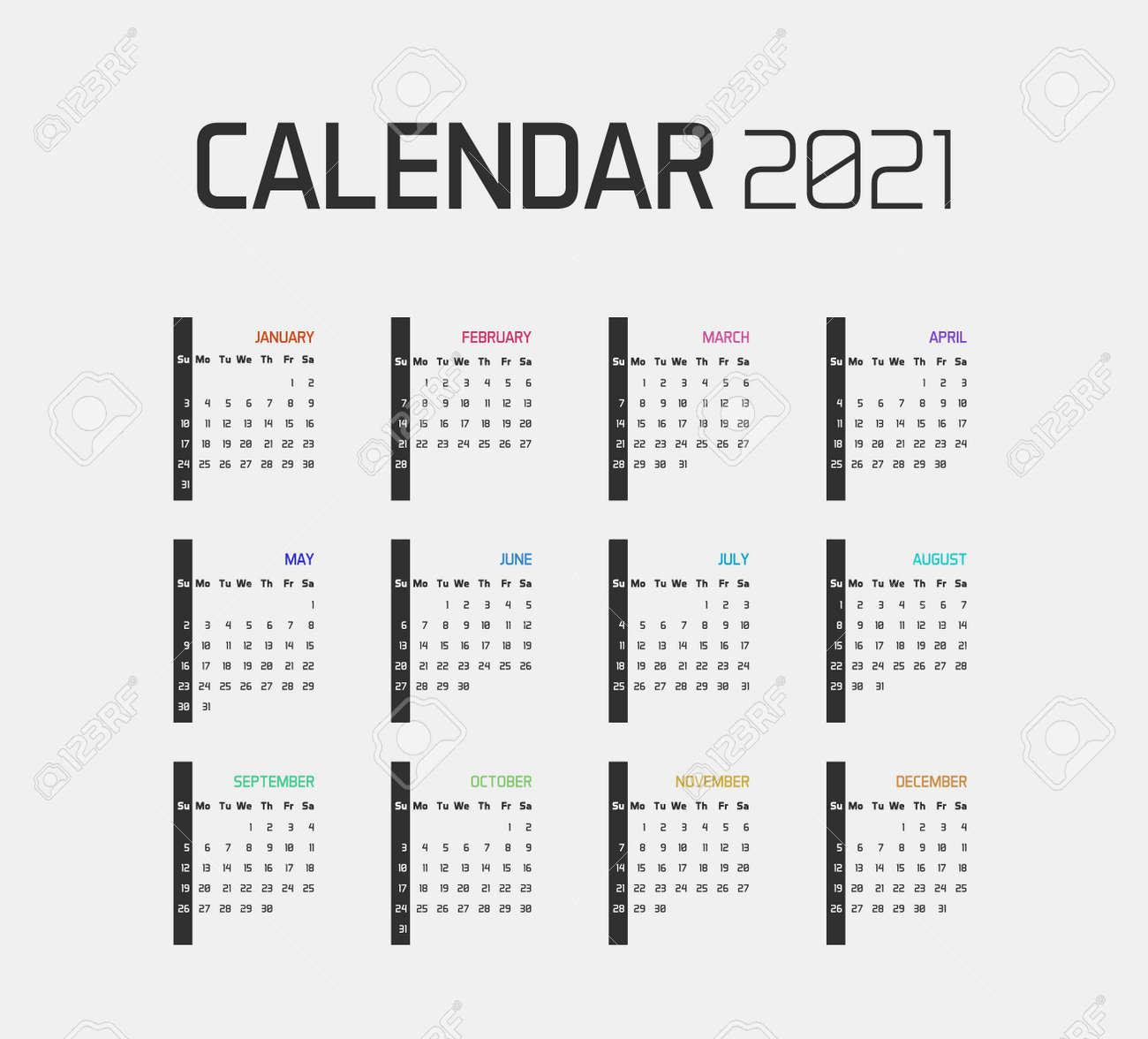Modern minimal Calendar Planner Template for 2021. Vector design editable with twelve months. Week starts sunday - 158456607