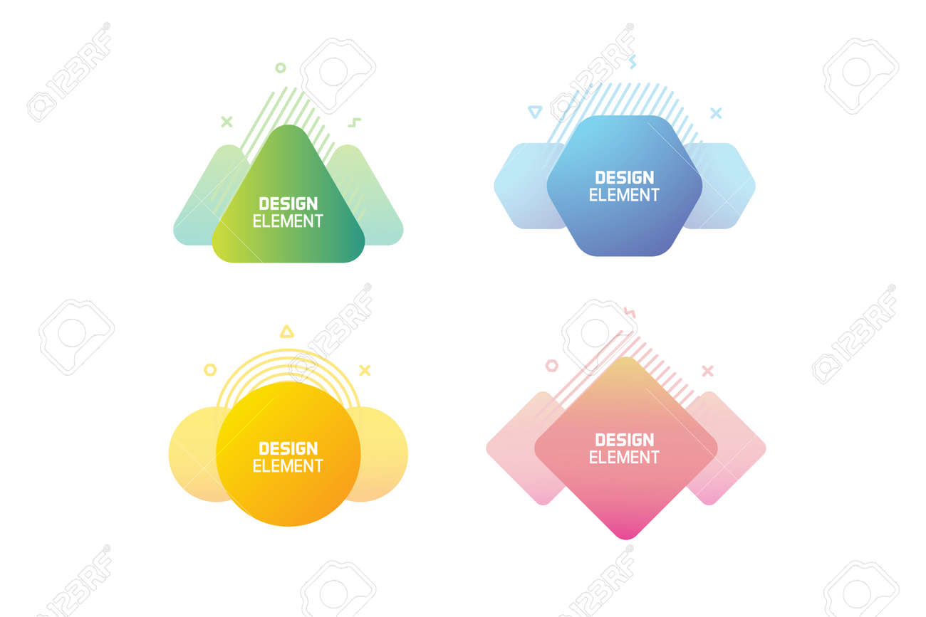 Geometric graphic design elements. Vector shapes with abstract geometric lines for text. Template for usage in presentations, web design, websites, magazines, labels, marketing and business - 158456643