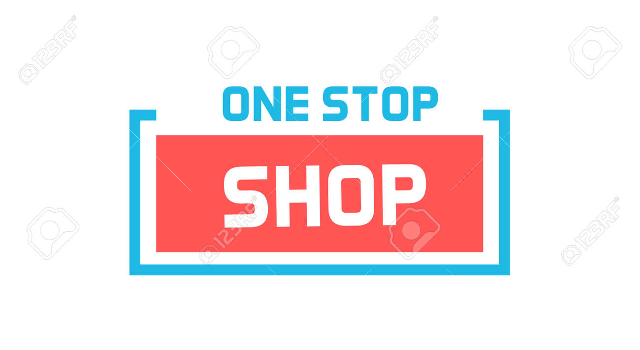 One stop shop Icon. Vector graphic design geometric element. Label badge illustration for online and retail shops, sales, marketing - 158456656
