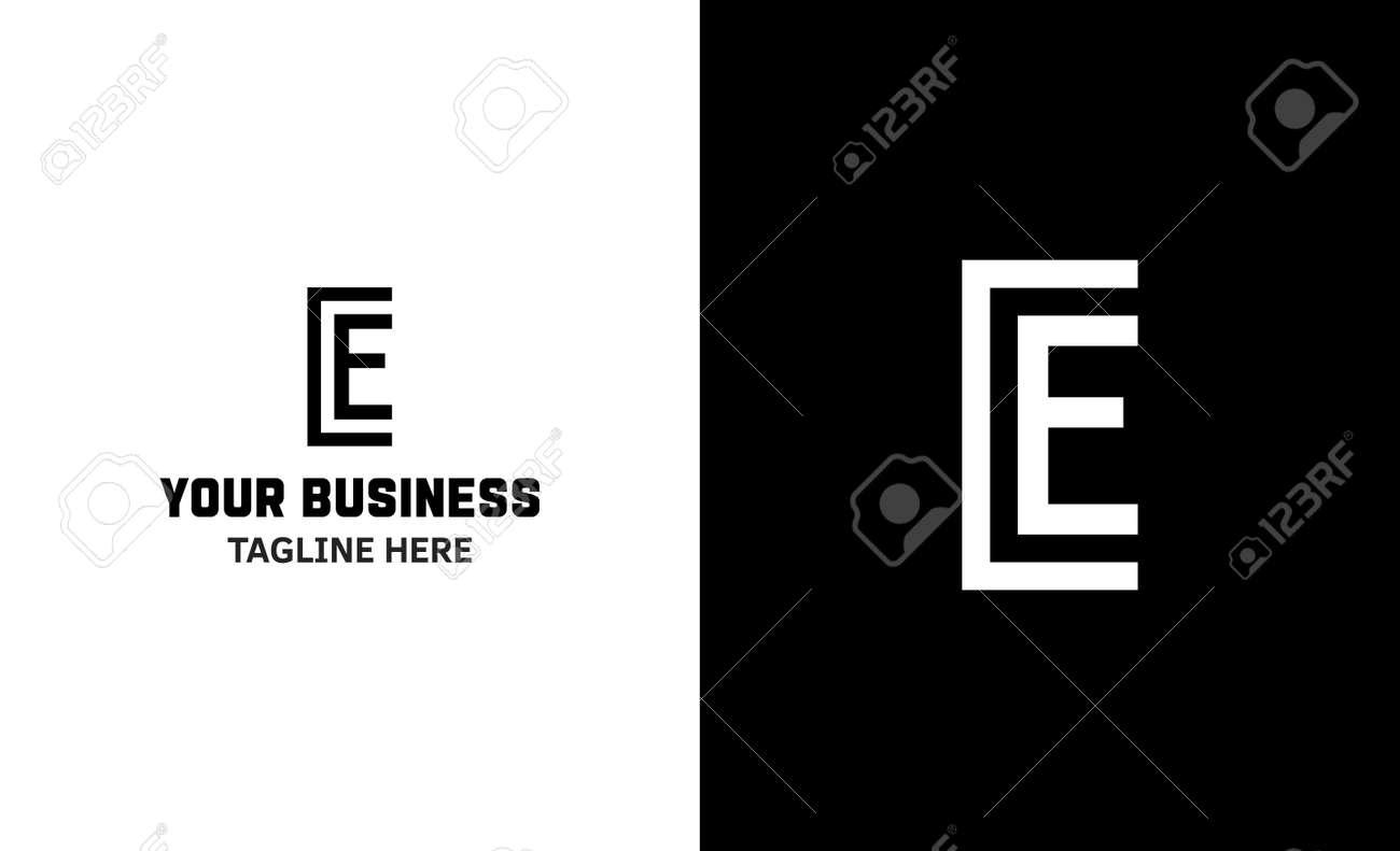Letter E minimal vector logo. Icon mark design template - 159057777