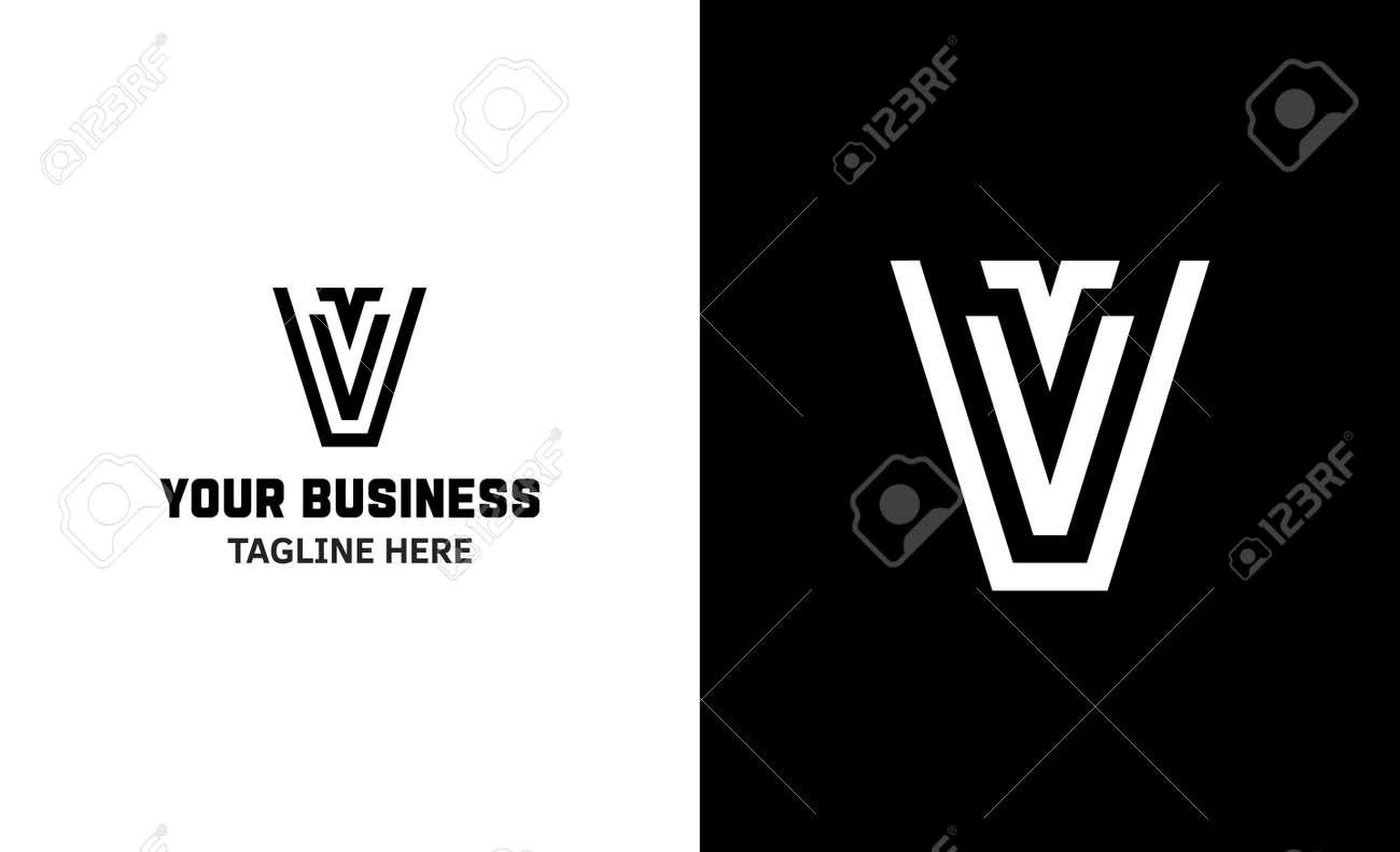 Letter V minimal vector logo. Icon mark design template - 159057789