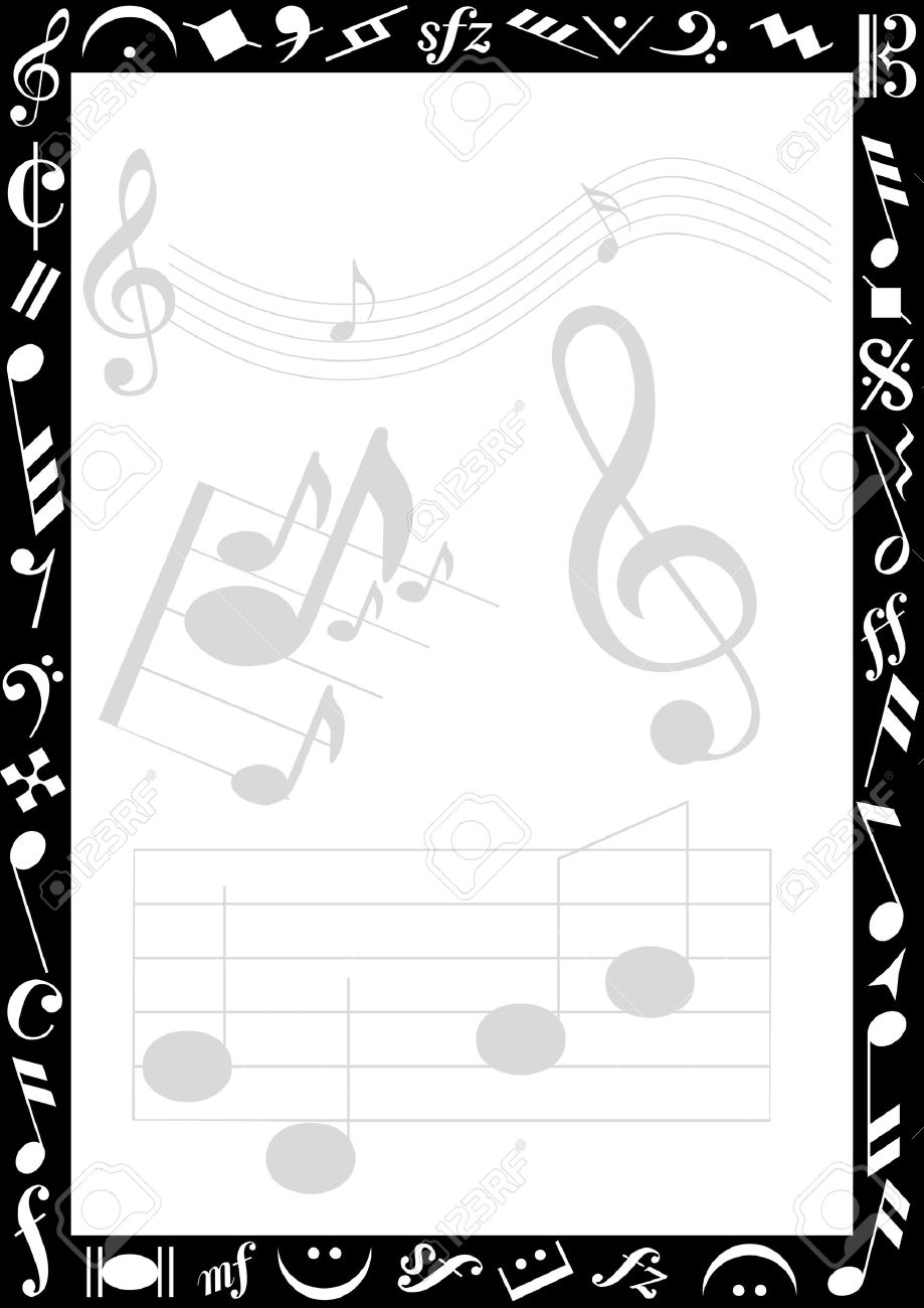 Background with transparent music signs and a black border with background with transparent music signs and a black border with white music symbols stock vector buycottarizona Gallery