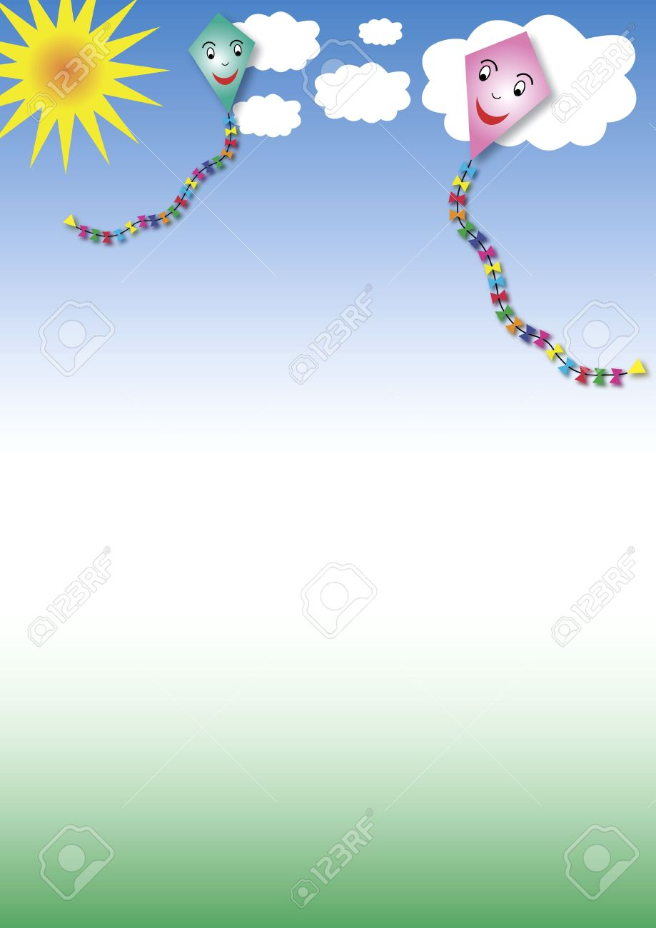 two paper kites in the sky with white clouds and the sun - 4435065
