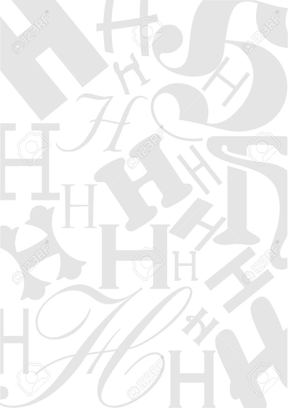 background with the letter h in different typefaces useful for