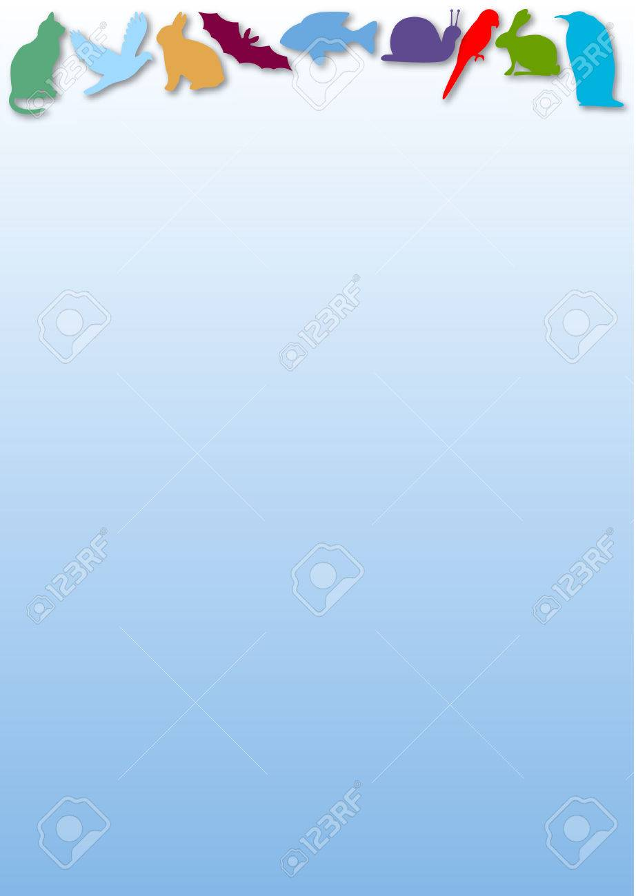 blue gradient background with colored animal silhouettes Stock Vector - 4688965