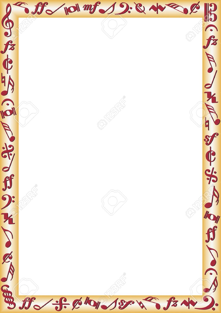 Musical notes staff background on white vector by tassel78 image - Music Notes Border With Music Notes And Signs Illustration
