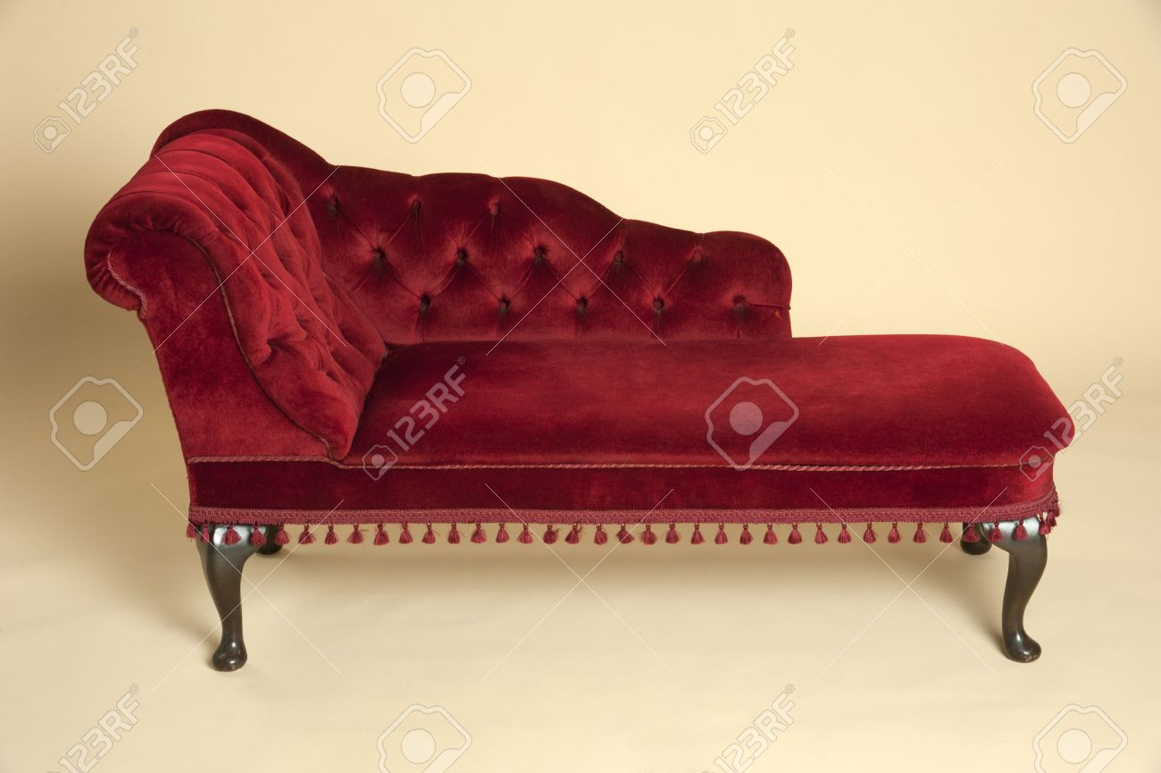 Chaise Longue In Dark Seat A Red Covered Velvet 0PknwO