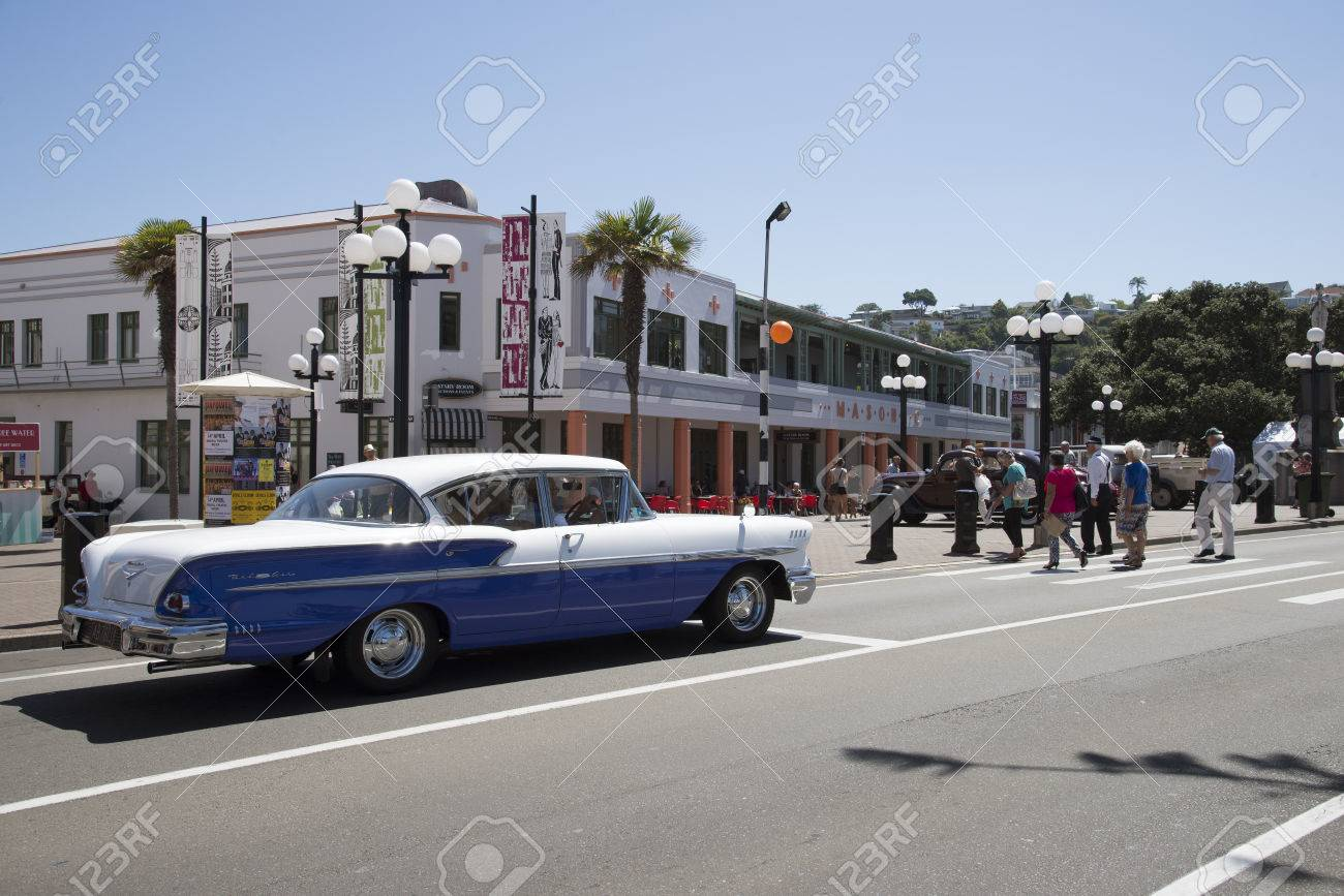 Art Deco Event In Napier New Zealand A Blue And White Chevrolet