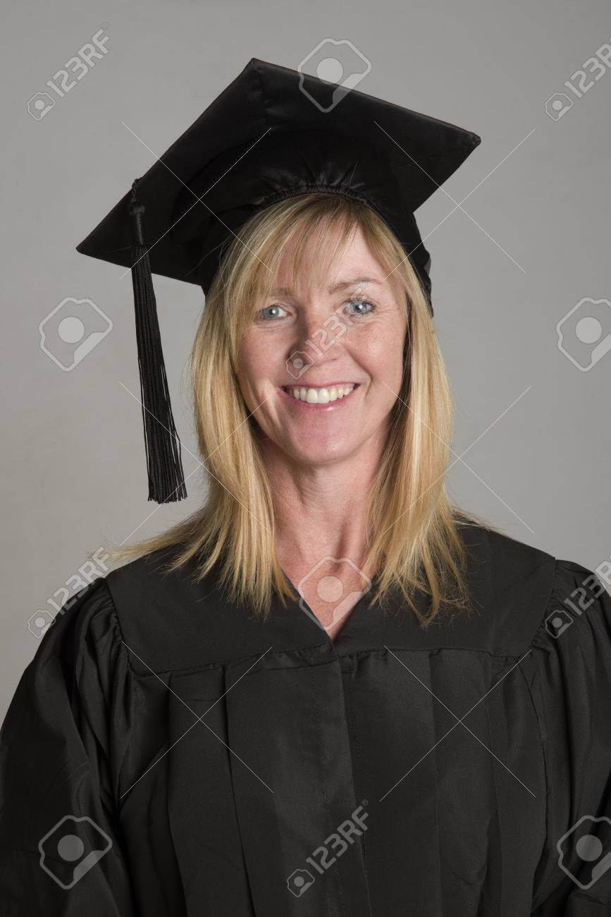 Mature University Student In Cap And Gown Stock Photo, Picture And ...