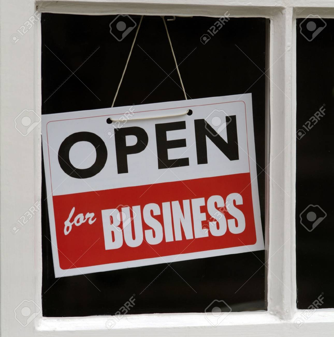 Hanging Sign in shop window Open For Business - 53861916