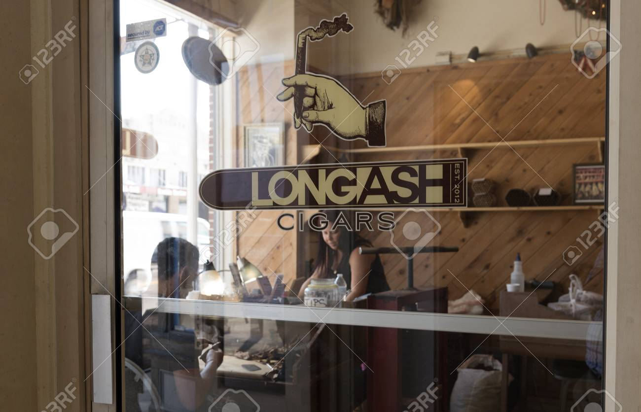 Entrance Glass Door To The Longash Cigar Making Store In Ybor