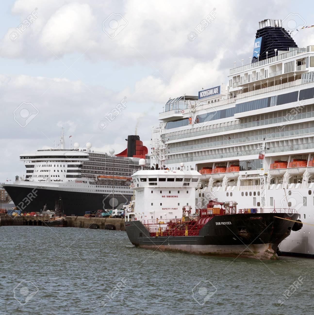 Southampton Docks England UK August Bunkering Vessel - Cruise ship fuel