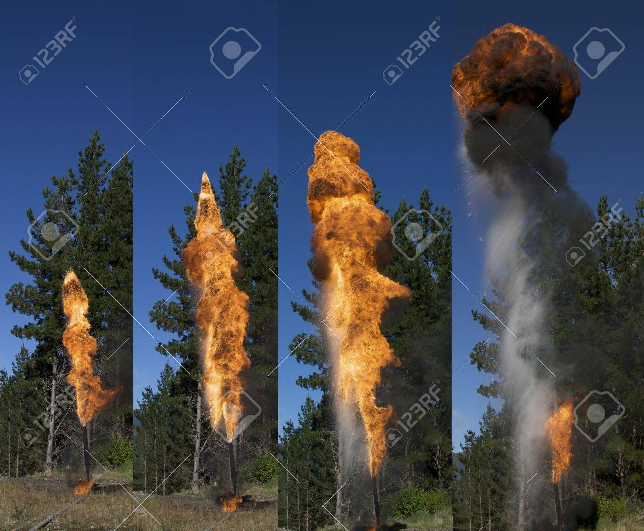 Flare burning off gas and oil at oil well, West Coast, South Island, New Zealand Stock Photo - 15017880