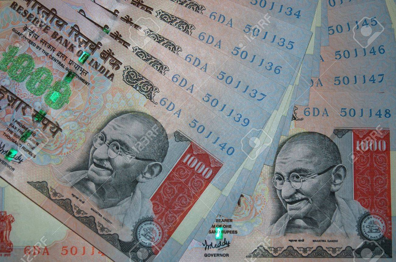 Rupee Note Vector 1000 Rupee Notes From India
