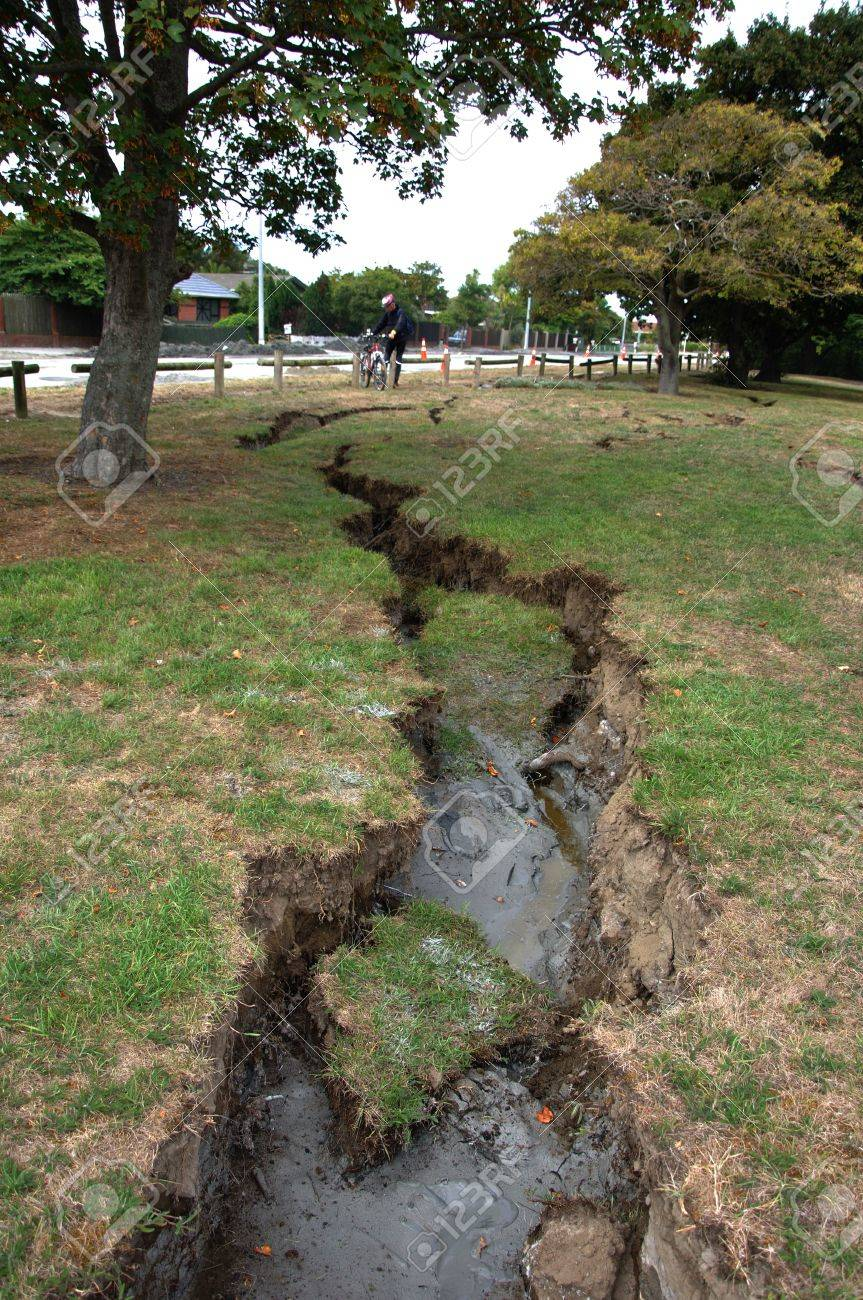 Damage to parkland by the Avon River from the 6.4 earthquake in Christchurch, South Island, New Zealand, 22-2-2011 Stock Photo - 15337507