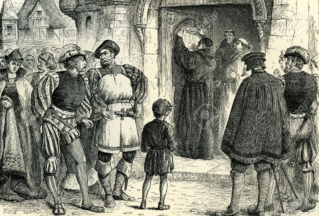 Martin Luther Nails Up His 95 Theses On The Cathedral Door
