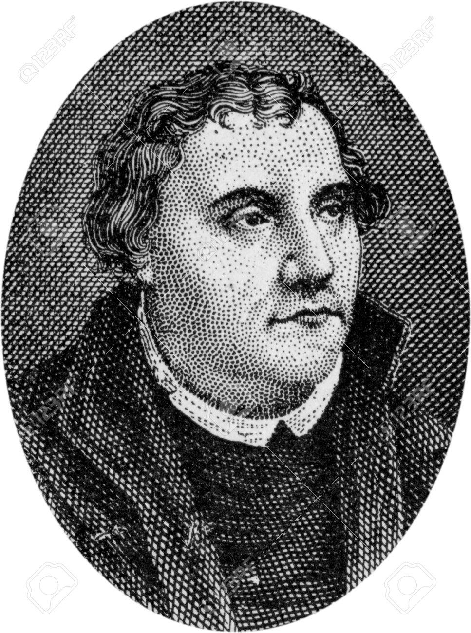 Engraving of Martin Luther, 1483 - 1546, leader of the Reformation in  Germany,