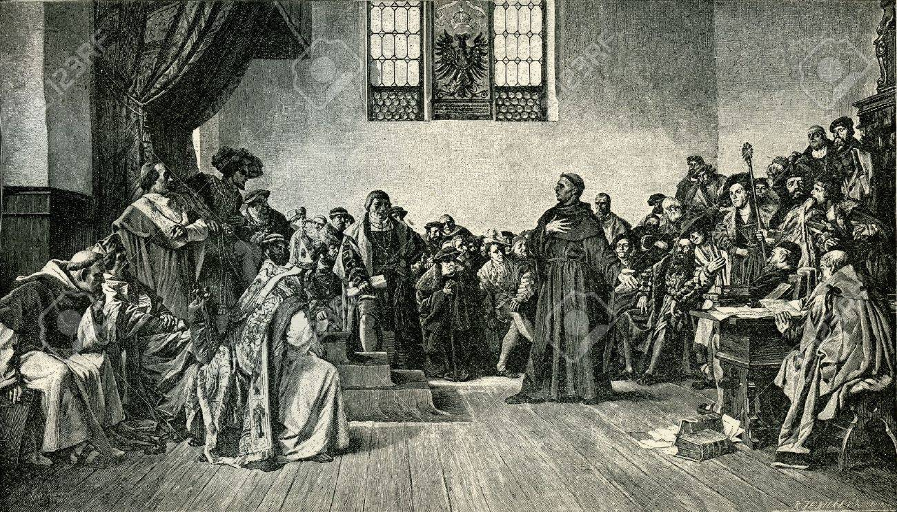 martin luther before the court at worms original illustration