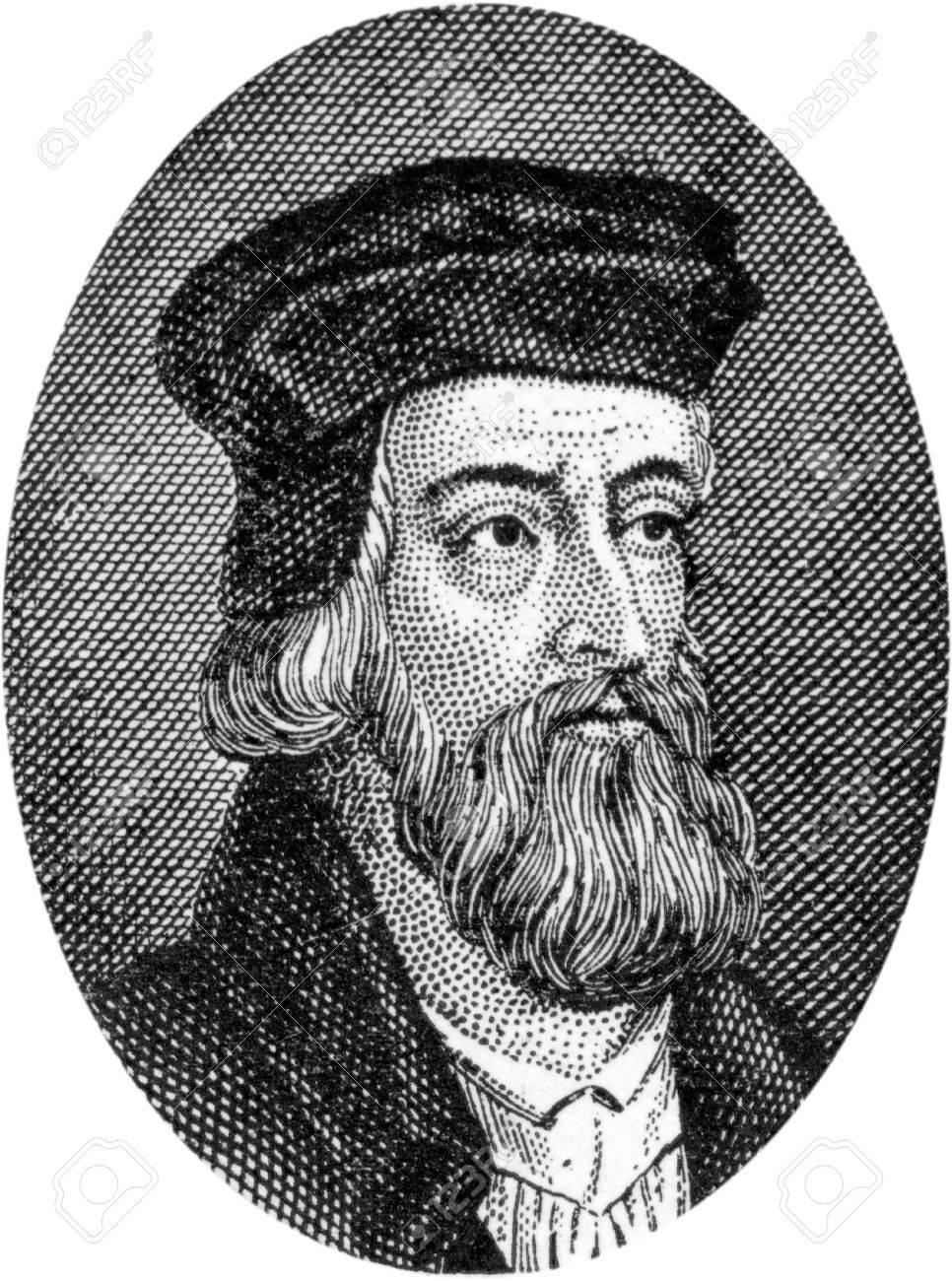 1324-1384; ジョン ・ ウィクリフ、英語聖書翻訳および改革者の彫刻 ...
