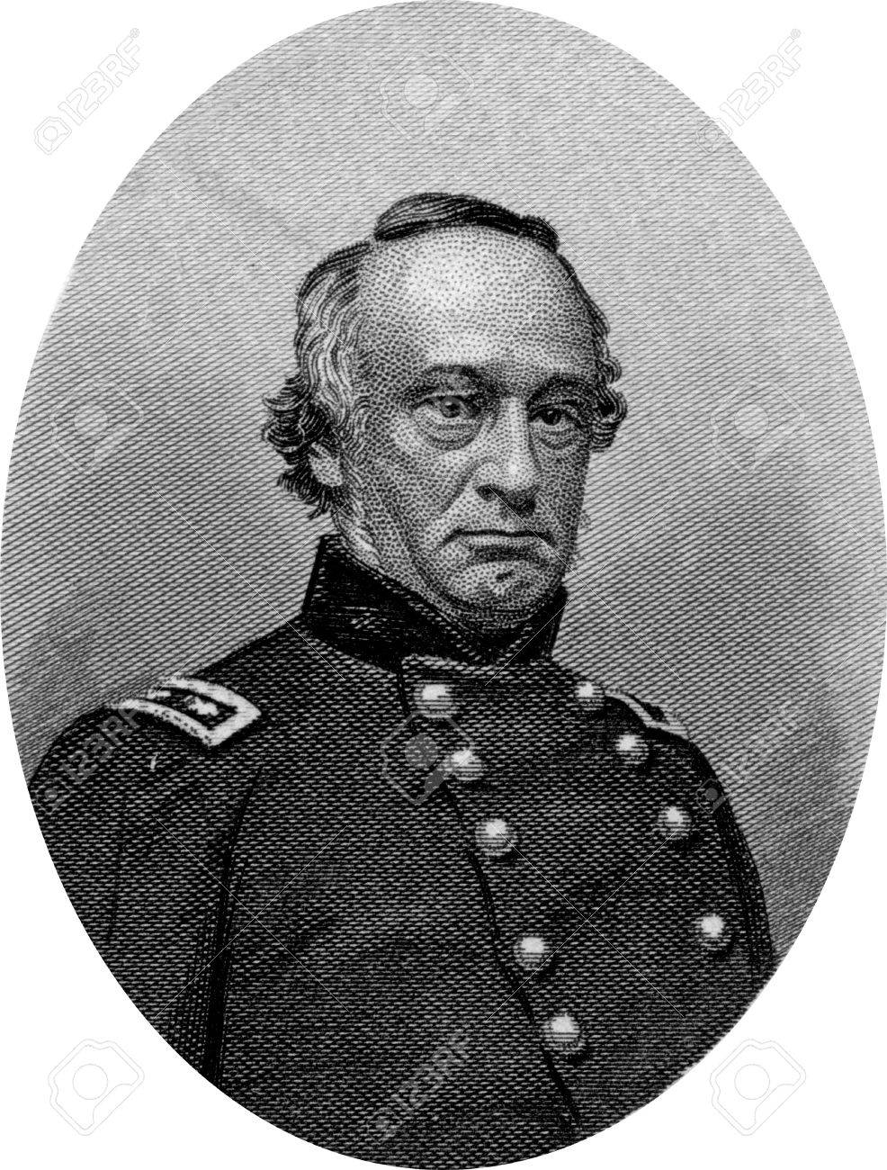 Engraving of Union Major General Henry W Halleck. Original engraving by John Buttre, circa 1866. Stock Photo - 17262612