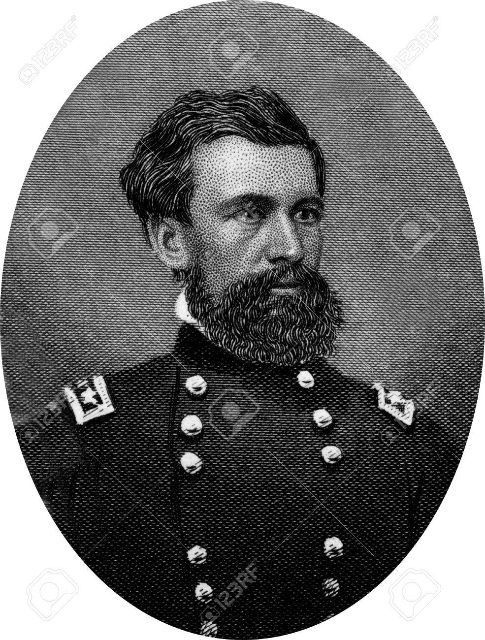 Engraving of Union Major General Oliver Otis Howard (November 8, 1830 – October 26, 1909), a career United States Army officer and a Union general in the American Civil War, and later an author and Indian fighter.  Original engraving by John Buttre, cir Stock Photo - 17262618