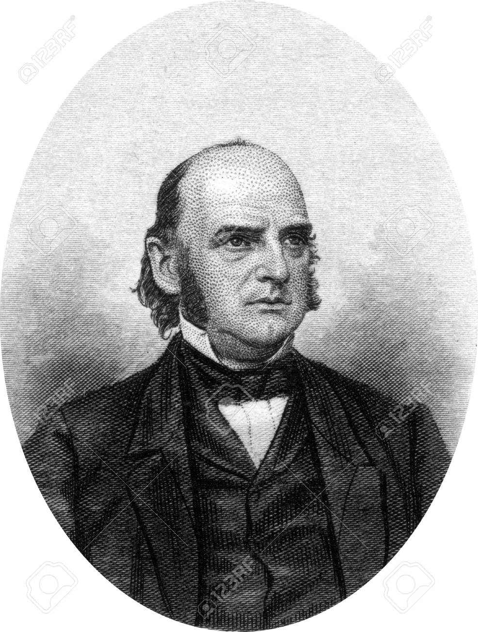 Engraving of Alexander William Randall (October 31, 1819? July 26, 1872), a lawyer, judge and politician from Wisconsin. He served as the sixth Governor of Wisconsin from 1858 until 1861. He was instrumental in raising and organizing the first Wisconsin v Stock Photo - 17393220