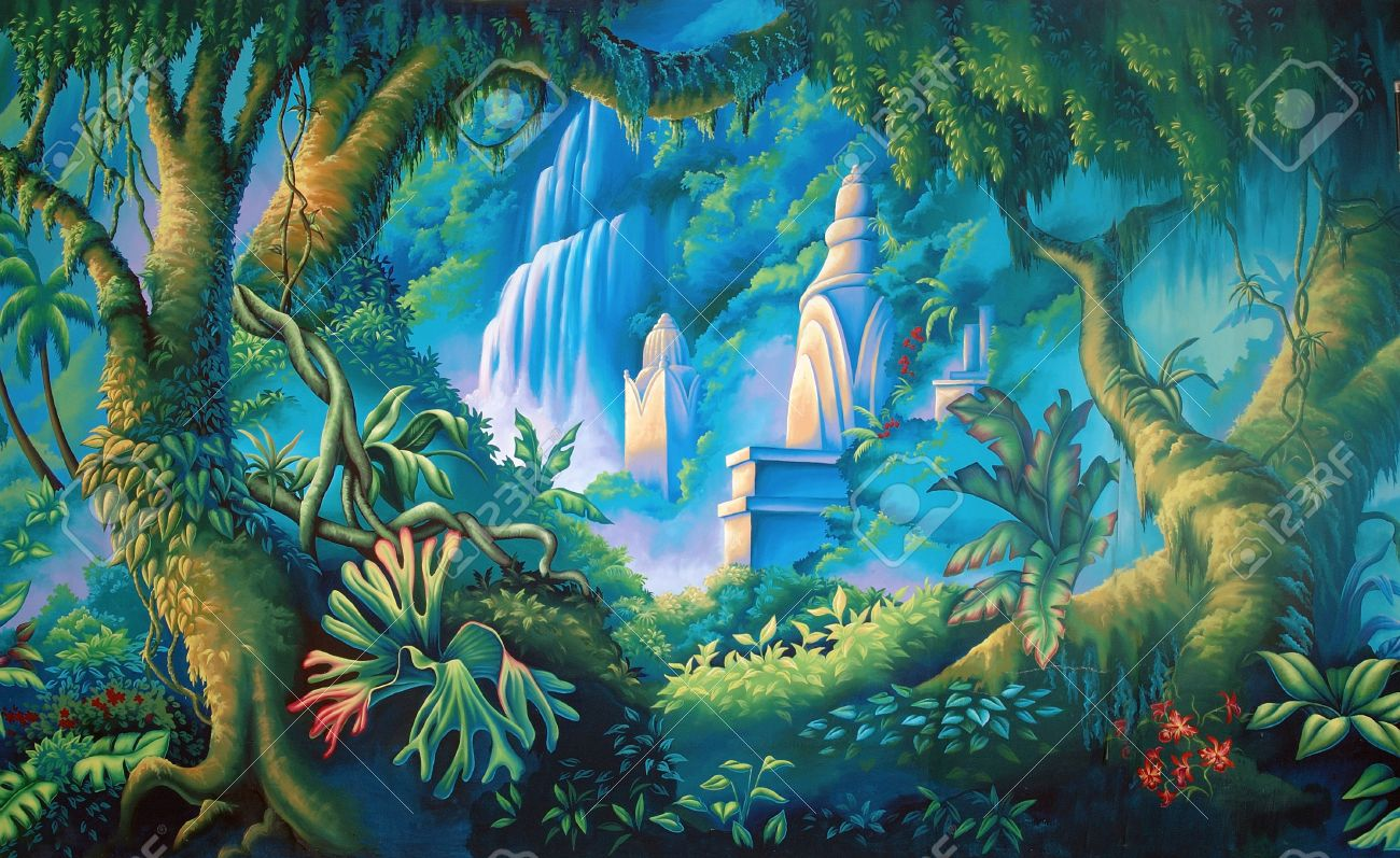 painted backdrop of tropical rainforest stock photo picture and