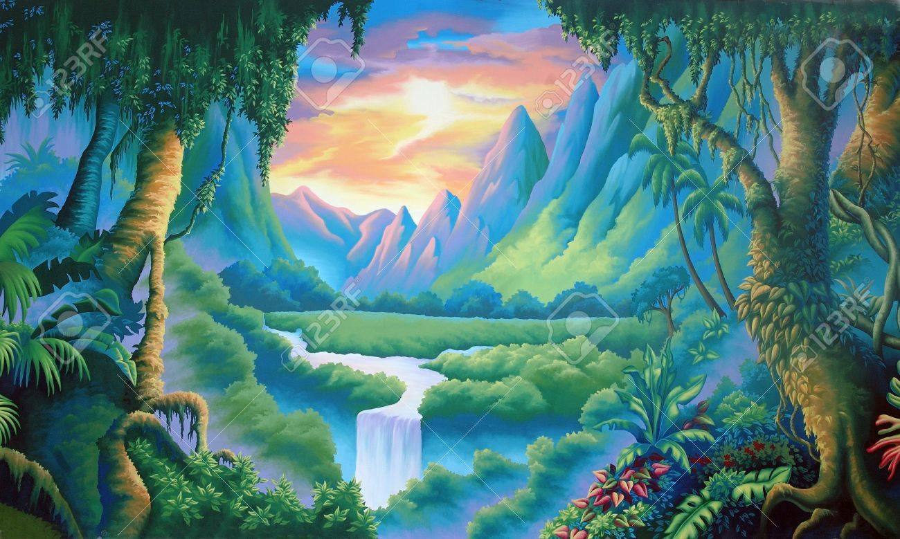 painted backdrop of tropical rainforest Stock Photo - 17823221