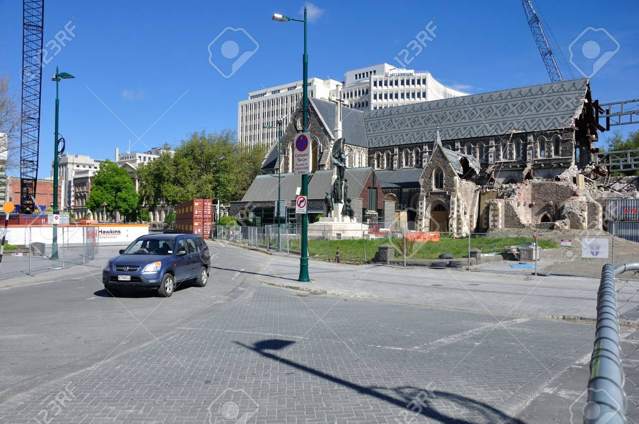 CHRISTCHURCH, NEW ZEALAND, NOVEMBER 16, 2012 - The iconic Anglican Cathedral remains a ruin in Christchurch, South Island, New Zealand, since the earthquake of 22-2-2011 Stock Photo - 18603982