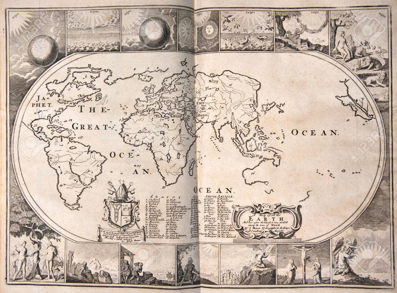 World Map From A 1715 Edition Of The Holy Bible Showing Only