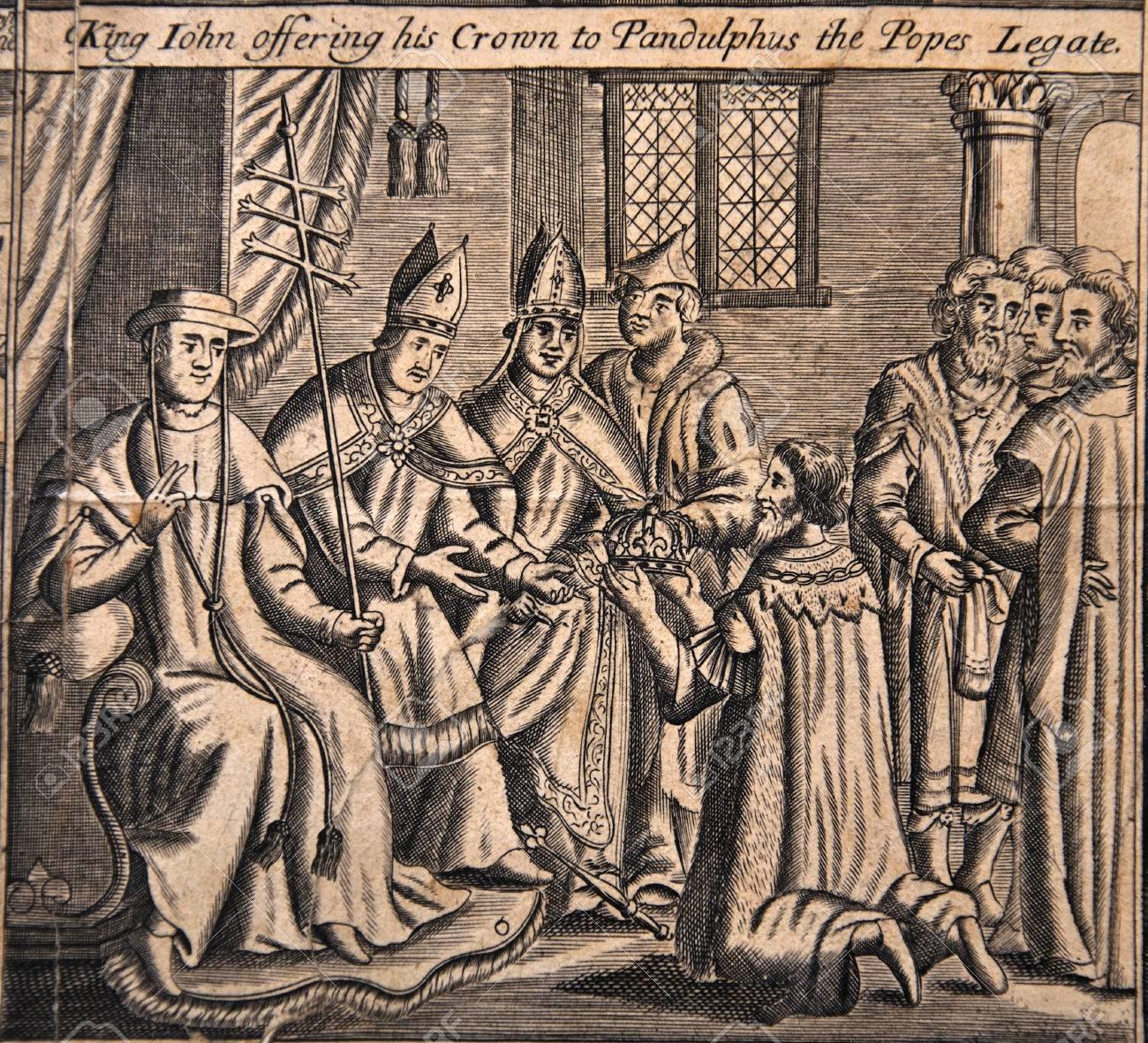 フォックスの本の殉教者、Pandulphus、教皇の特使を彼の王冠を提供して ...