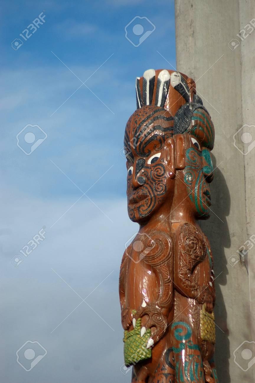 Remarkable Maori Krieger The Best Of Geschnitzte Säule Mit Maori-krieger, Christchurch, Canterbury, Eeland.