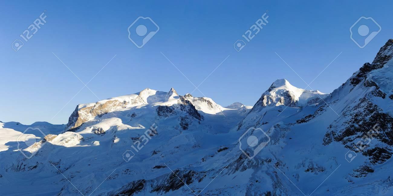 Monte Rosa and Lyskamm mountains in winter, view from Gandegghuette, Zermatt, Switzerland Stock Photo - 6104455