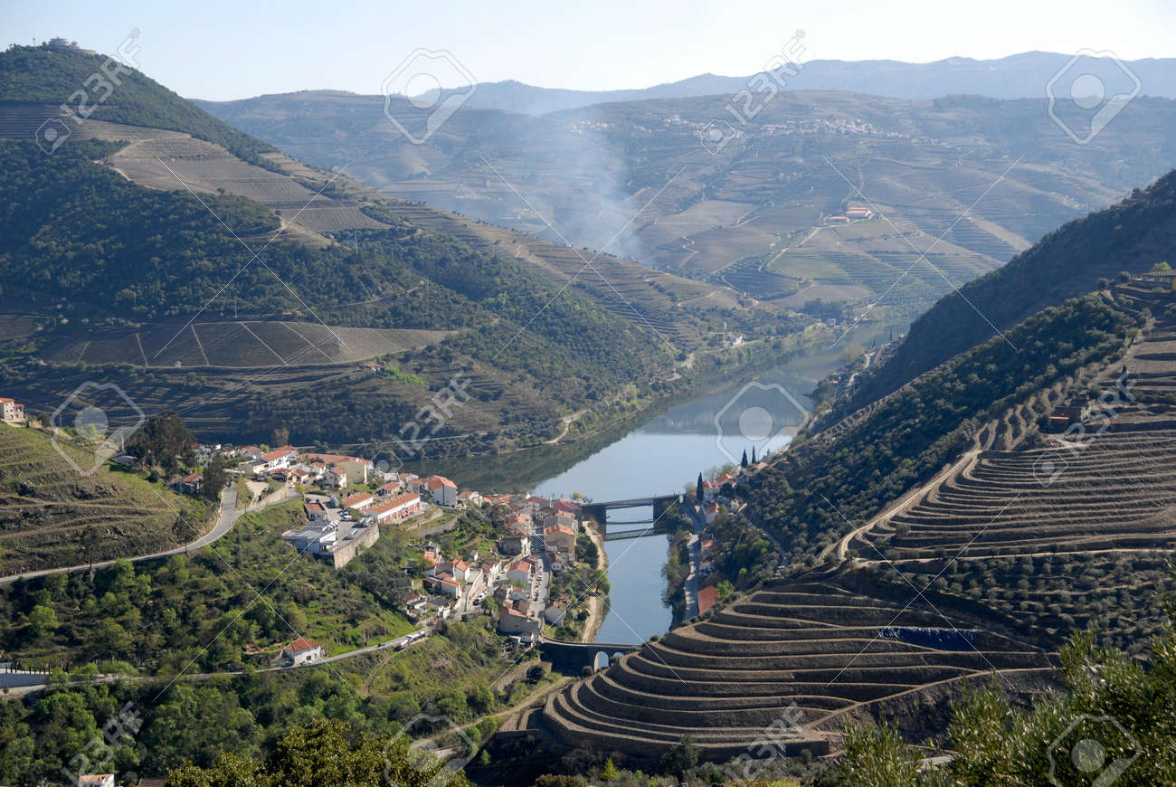 Douro Valley - mail Vineyard region in Portugal.Town Pinhao. Portugal's port wine vineyards.Point of interest in Portugal. Stock Photo - 4675453