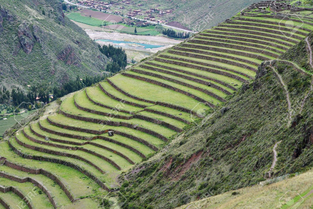 Inca Settlement Pisac Peru Terraced Fields In The Inca Archeological