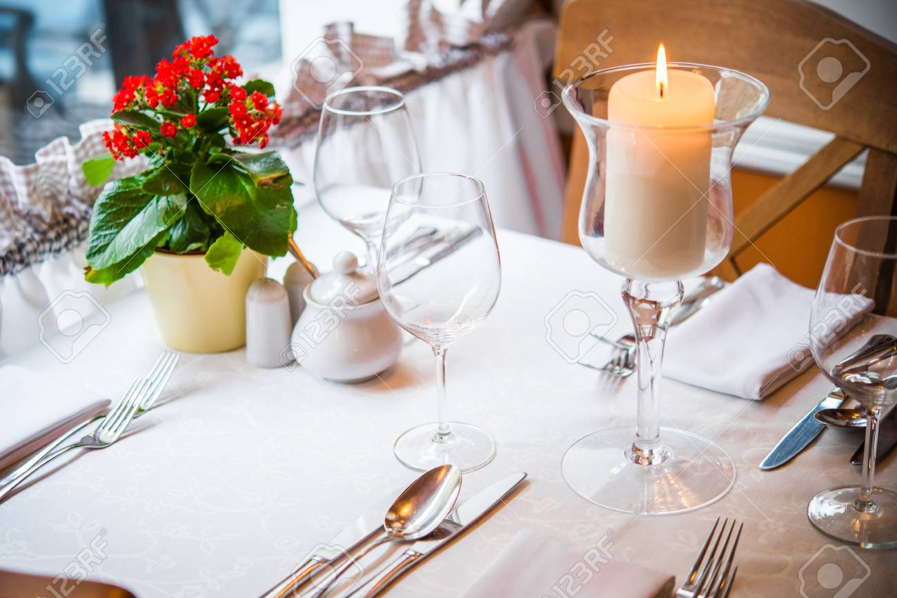 Fancy Dinner In The Restaurant Table Prepared For Dinner For - Fancy restaurant table