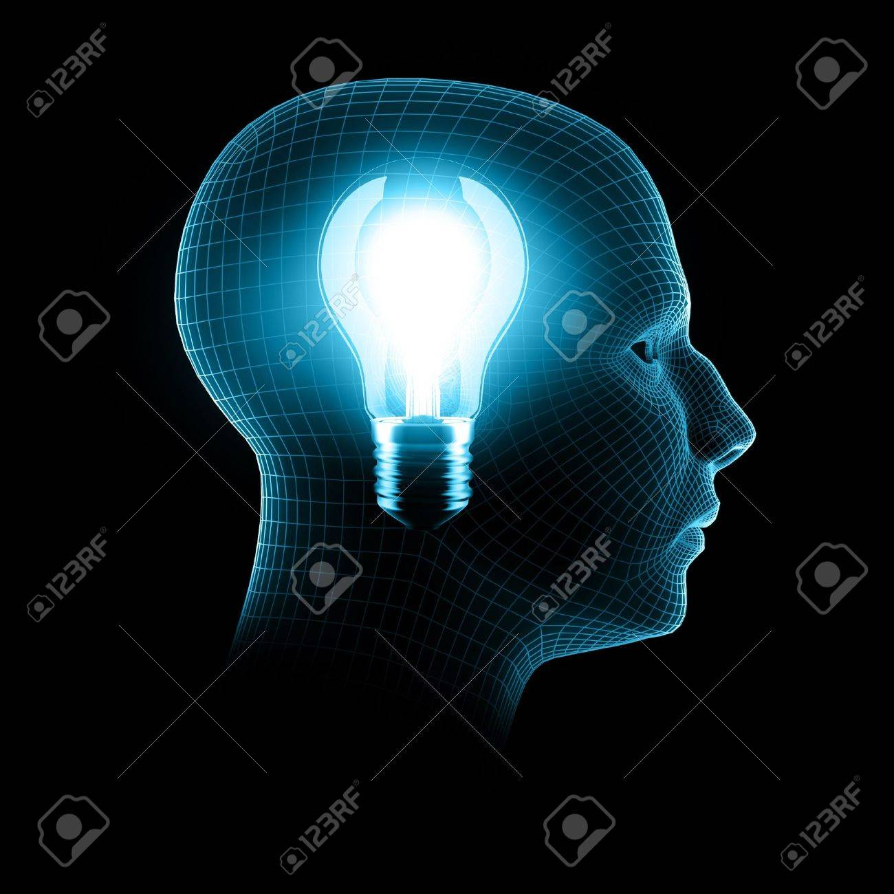 a bright idea, 3d render bulb inside wireframe head Stock Photo - 4264528