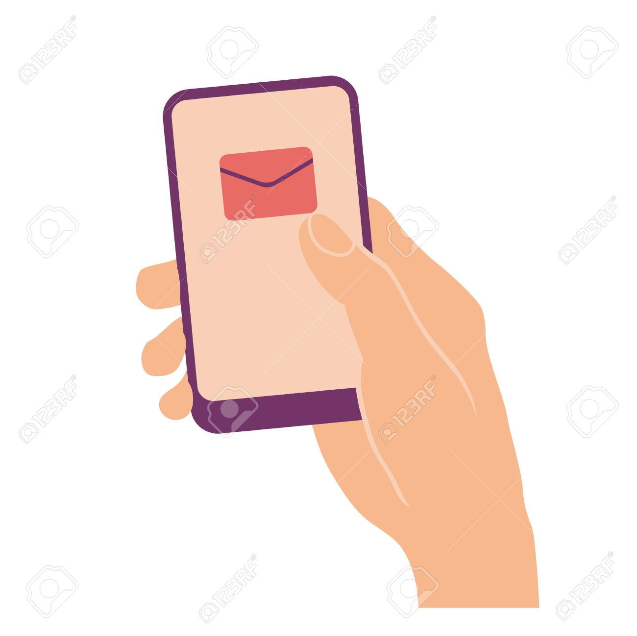 Hand holding and pointing on mobile phone with envelope on screen
