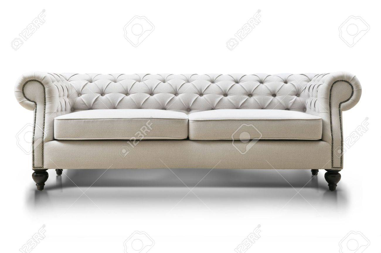 white Luxurious sofa isolated on white background, front view Stock Photo -  36630983