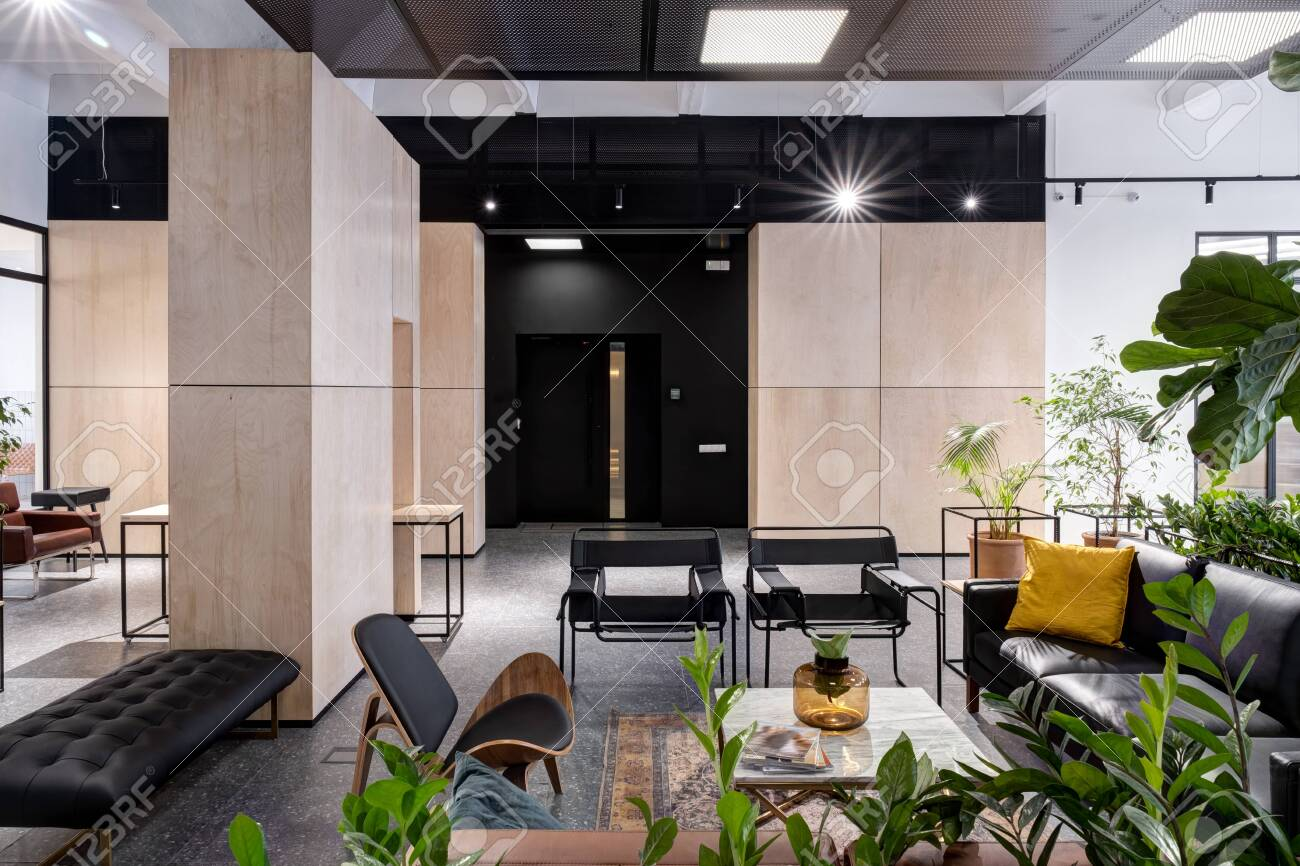 modern open space office interior with furniture - 144868975