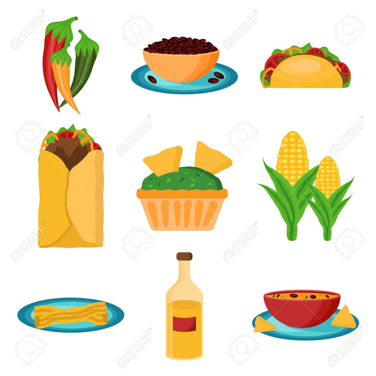 set of cartoon mexican food for your design royalty free cliparts rh 123rf com cartoon mexican food cartoon american football players