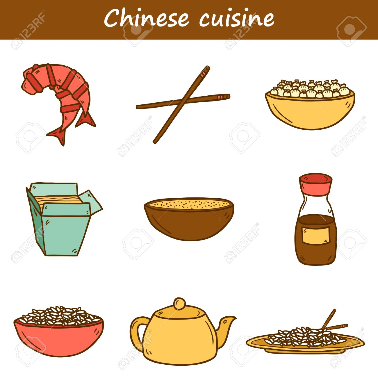 set of cute modern hand drawn cartoon icons on chinese food theme rh pt 123rf com chinese food cartoon song chinese food cartoon song