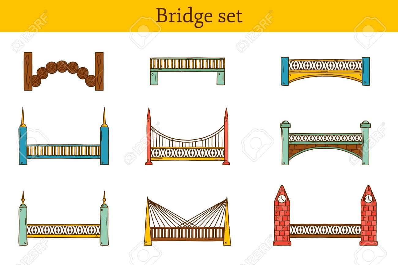 Set Di Semplici Simpatico Cartone Animato Colorato Disegnato A Mano