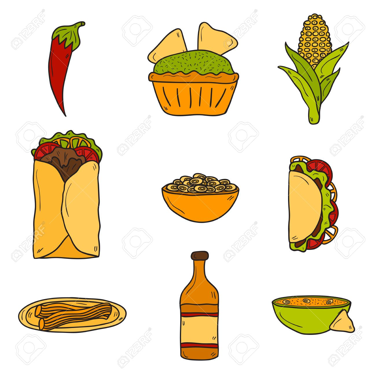 set of cute cartoon hand drawn icons on mexican food theme chili rh 123rf com cartoon american football players Cute Cartoon Mexican Food