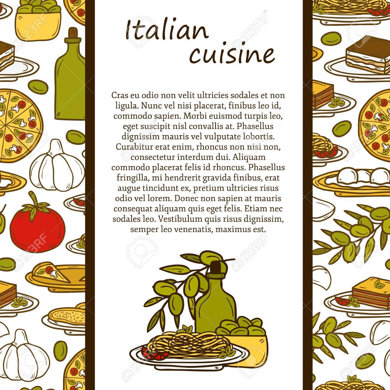 Concetto Di Cucina Italiana Con Oggetti Carino Cartoni Animati ...