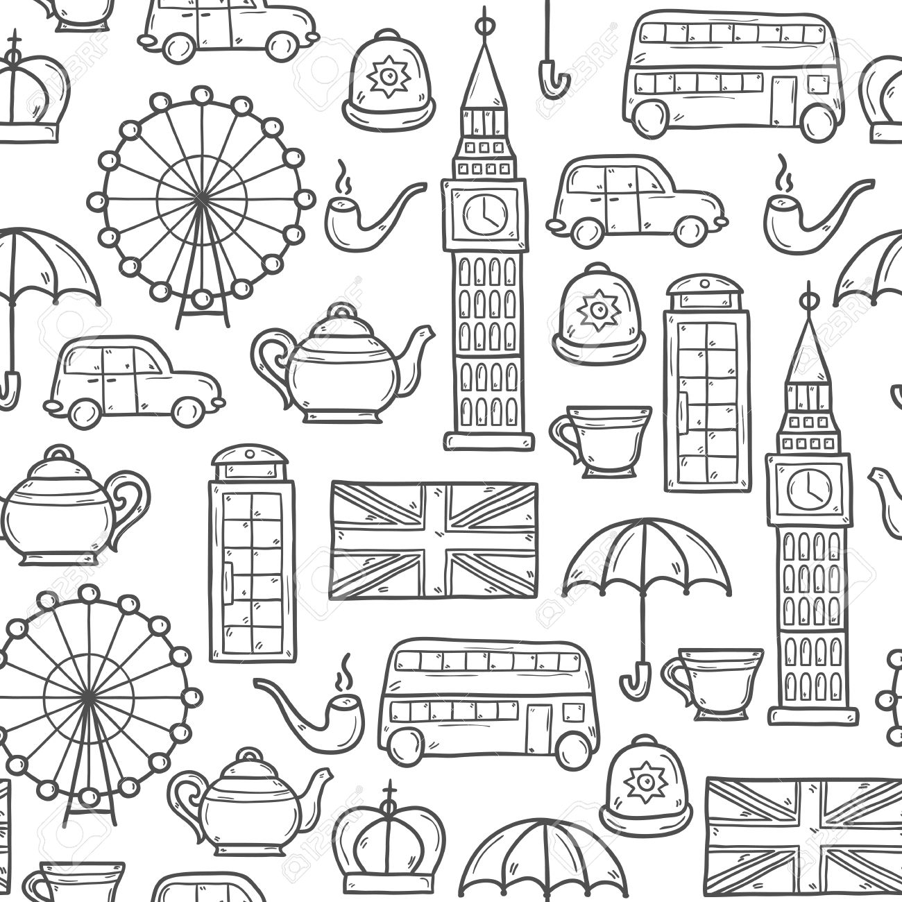 Seamless Background With Cute Hand Drawn Cartoon Objects On London ...